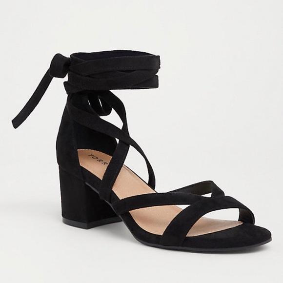 89689bafd40 Torrid Black Faux Suede Wrap Sandal Wide Width NWT